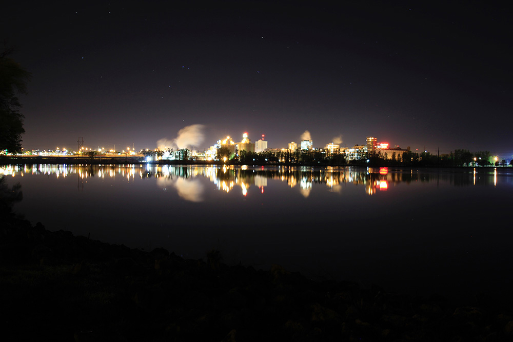 Cedar Lake in Downtown Cedar Rapids in early morning hours by Kirk Taylor