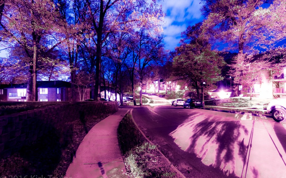Splashing color on night time setting