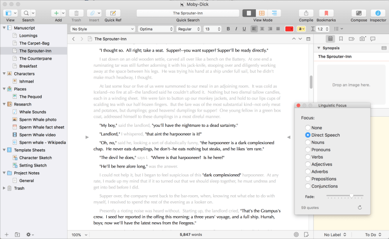 Kirkville - Analyze Your Writing with Scrivener 3's Linguistic Focus