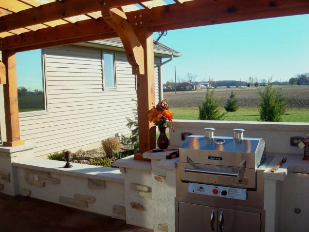 Bryan Ohio, outdoor fireplace, bbq, sit wall, bar, Pergola, Pati 011