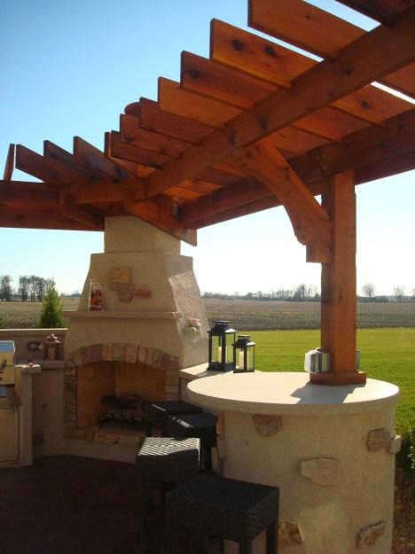 Bryan Ohio, outdoor fireplace, bbq, sit wall, bar, Pergola, Pati 012