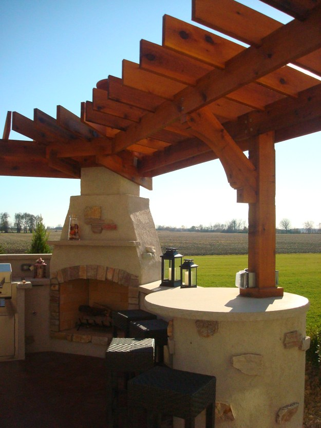 Bryan Ohio, outdoor fireplace, bbq, sit wall, bar, Pergola, Pati 012