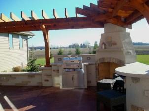 Bryan Ohio, outdoor fireplace, bbq, sit wall, bar, Pergola, Pati