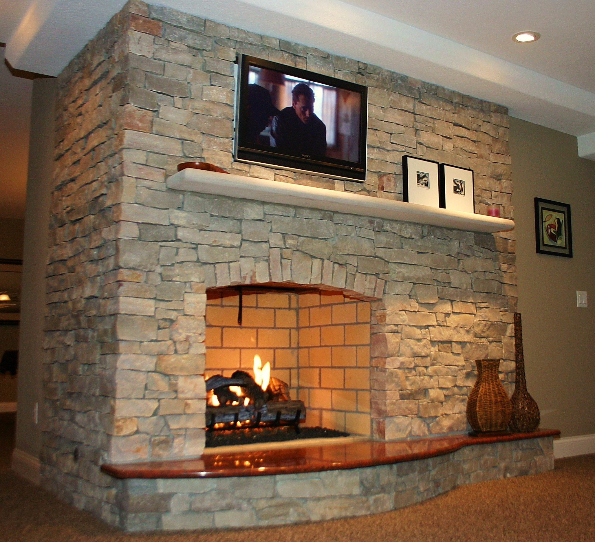 Natural Stone Fireplace Remodel