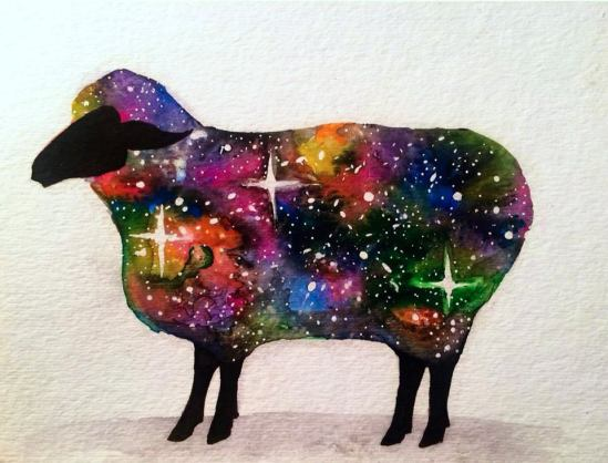 Psychedelic Sheep, 5x7 inches watercolour on paper 2015