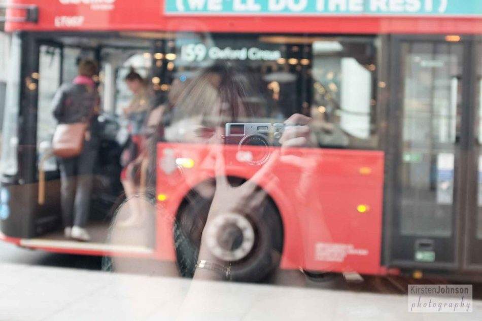 London red bus reflection