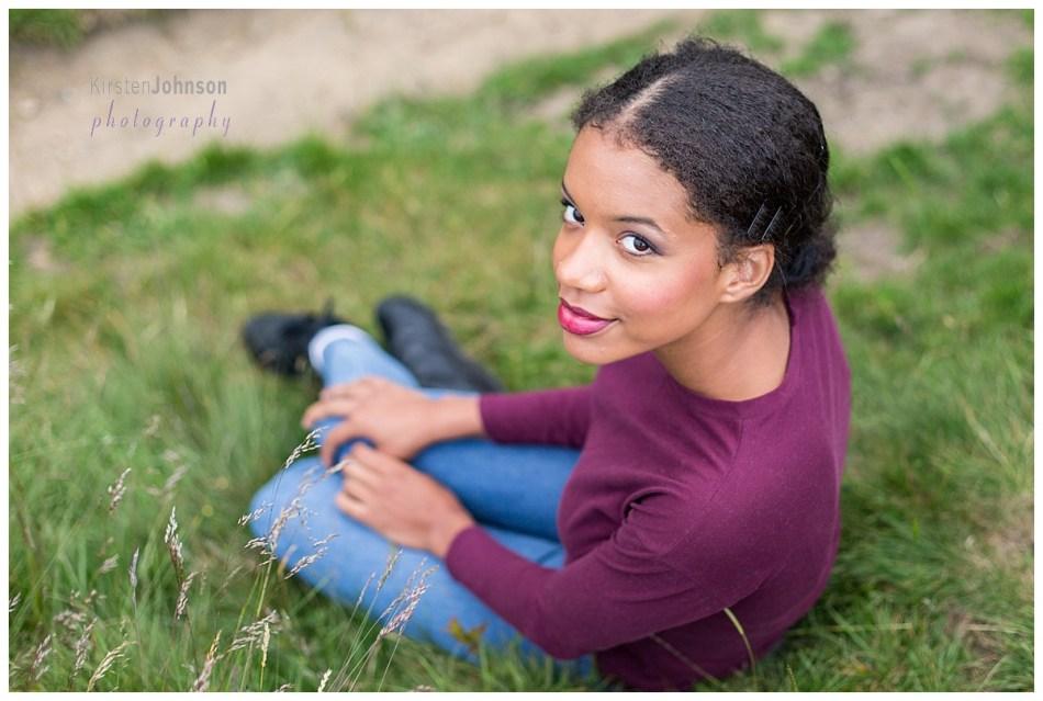 Teenage girl looking up at the camera