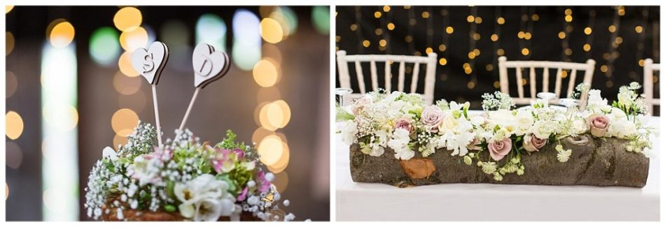 two photos of floral details at wedding