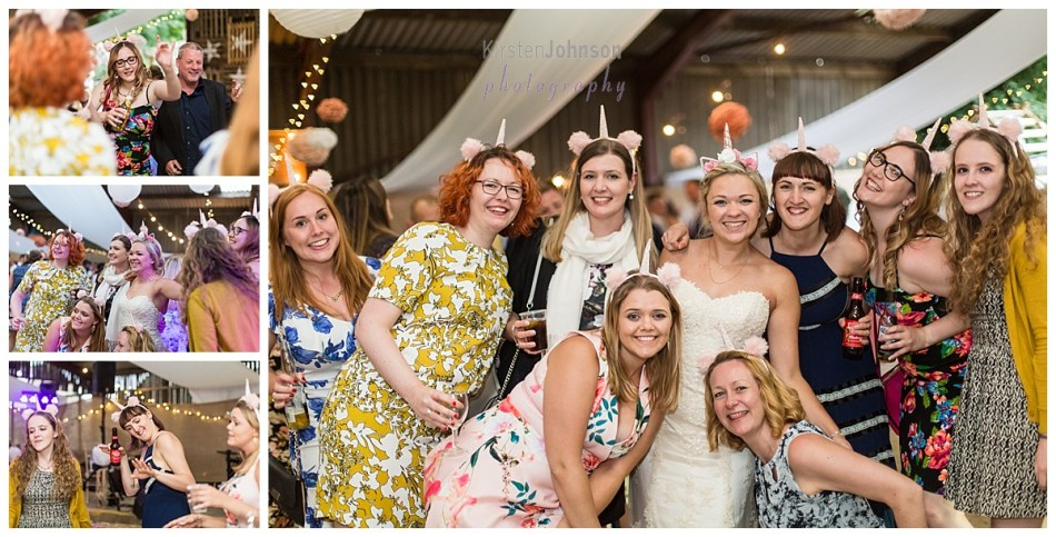 group of female guests with bride
