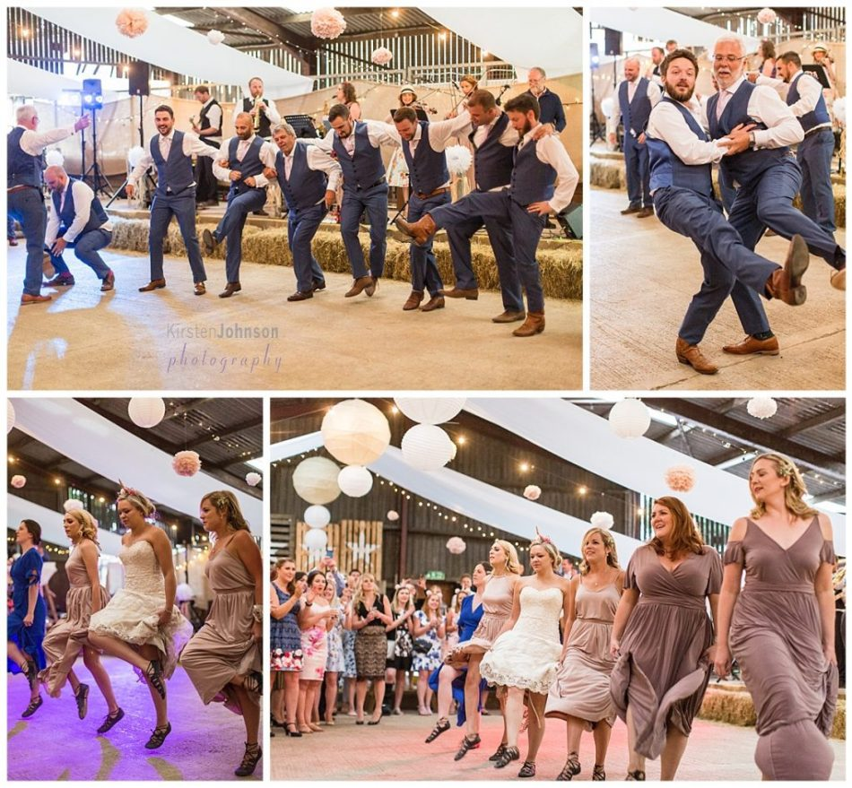 Multi photo image of bridal party Irish dancing