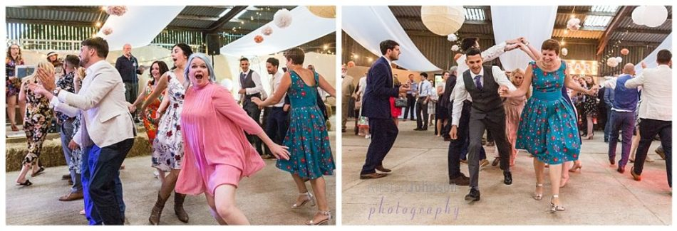 two photo image of people in ceilidh dance