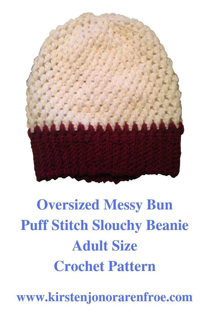 crochet, puff stitch beanie, messy bun, messy bun beanie, messy bun hat