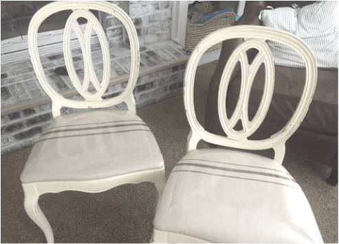 dining chair fabric seat covers hanging stand weight diy vintage drop cloth striped kirsten joy i found six of these lovely chairs at my favorite antique store but the seats were and have four sons covered