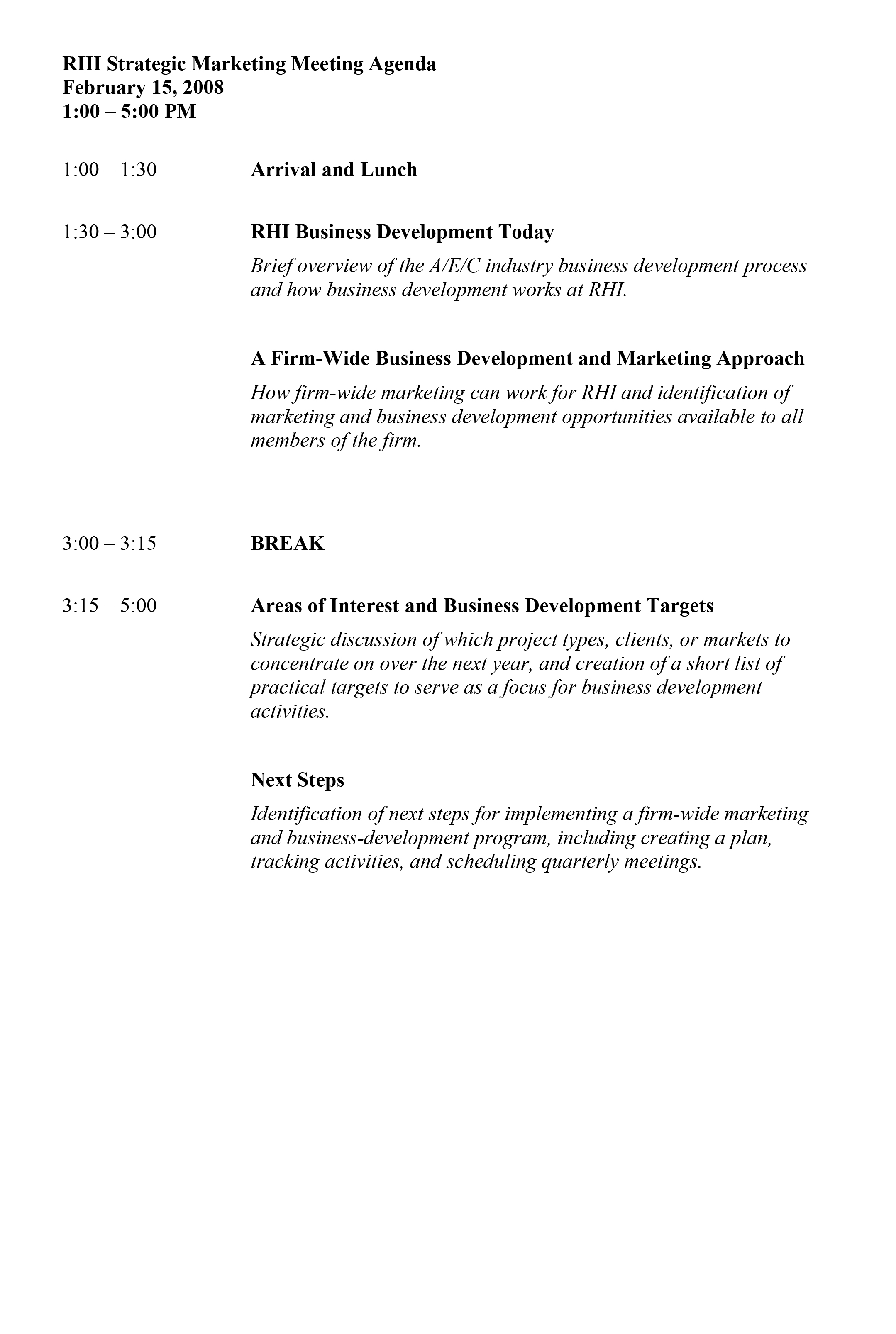 Strategy Meeting Agenda Sample