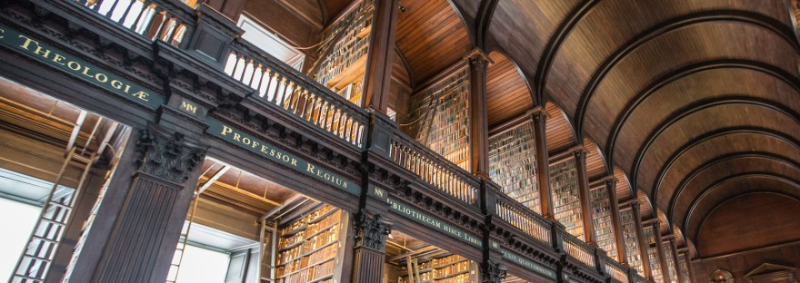 Bookshelves of Early printed books at the Long Room, TCD.