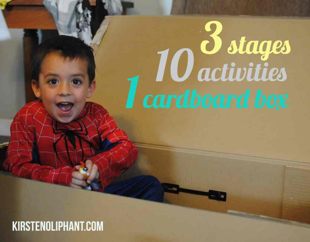 Fun activities with a cardboard box. 3 stages, 10 activites, 1 cardboard box.