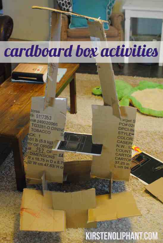Toddler activities with a cardboard box.