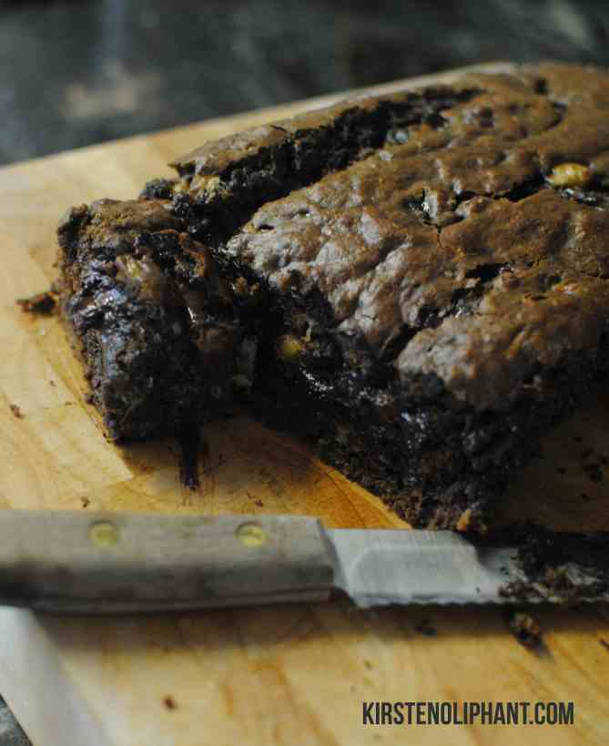 Double Chocolate Banana Bread--delicious, easy, and full of chocolate. With three bananas, so call it healthy.