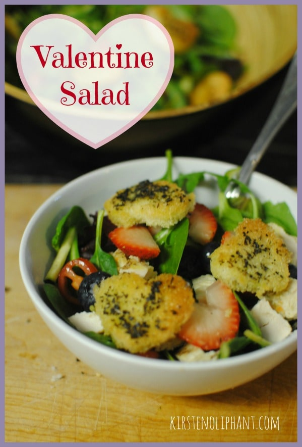 This easy and familiar salad has the sweet tang of fruit and homemad dressing, plus simple croutons in a heart shape.