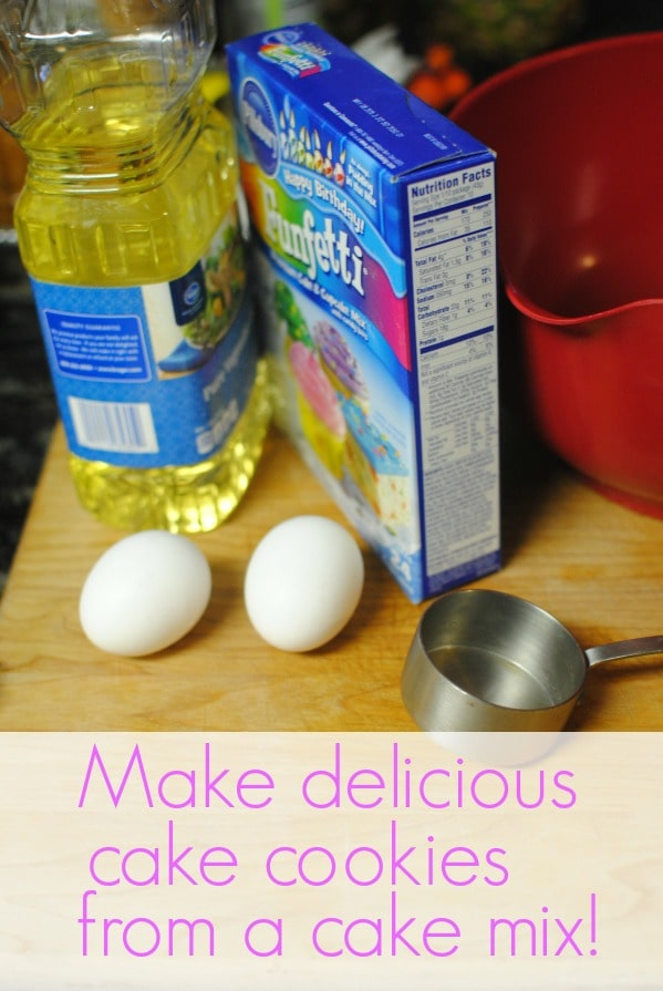 1 box cake mix, 2 eggs, 1/3 cup oil: cake cookies! Add icing and sprinkles.