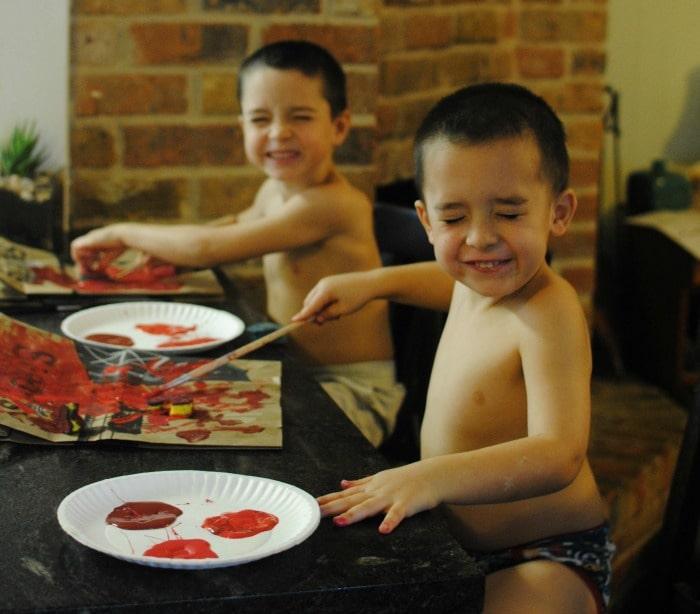 Creating homemade Valentines.