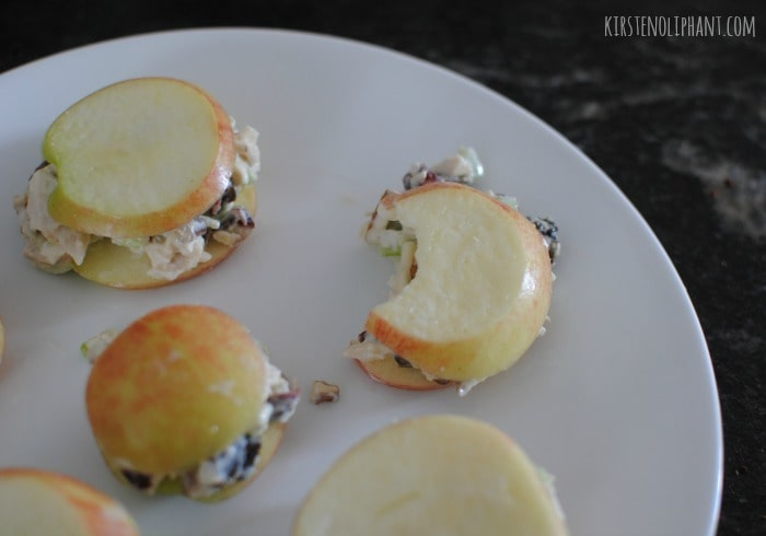 """Try the classic chicken salad on a """"sandwich"""" of apple slices."""