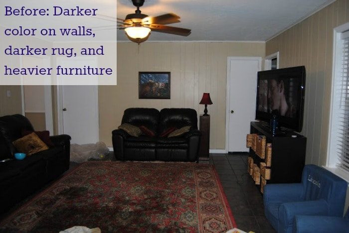 Heavy furniture and a dark rug can suck the light right out of a room.