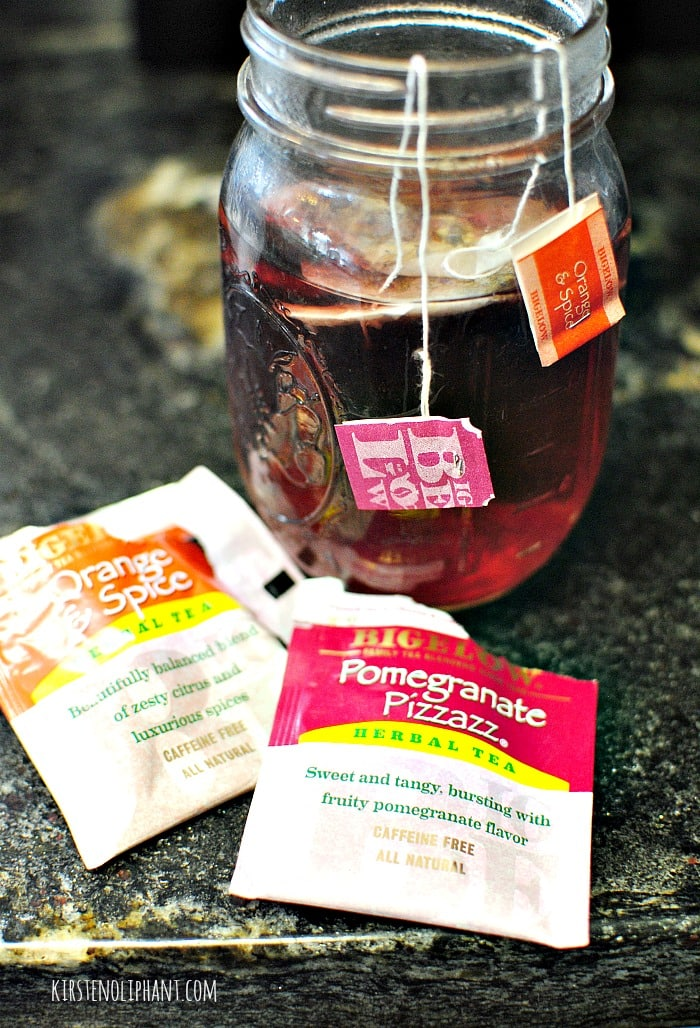 Sweet iced tea made with fruity Bigelow flavors.