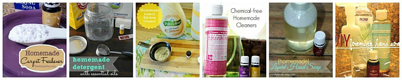 These homemade cleaners use essential oils and other natural ingredients rather than chemicals. Easy AND safe!