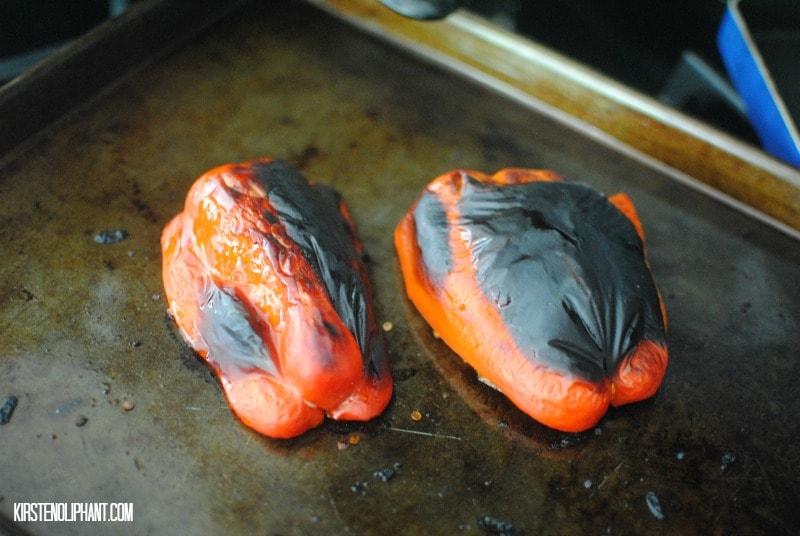 Stupid simple: roasted peppers.