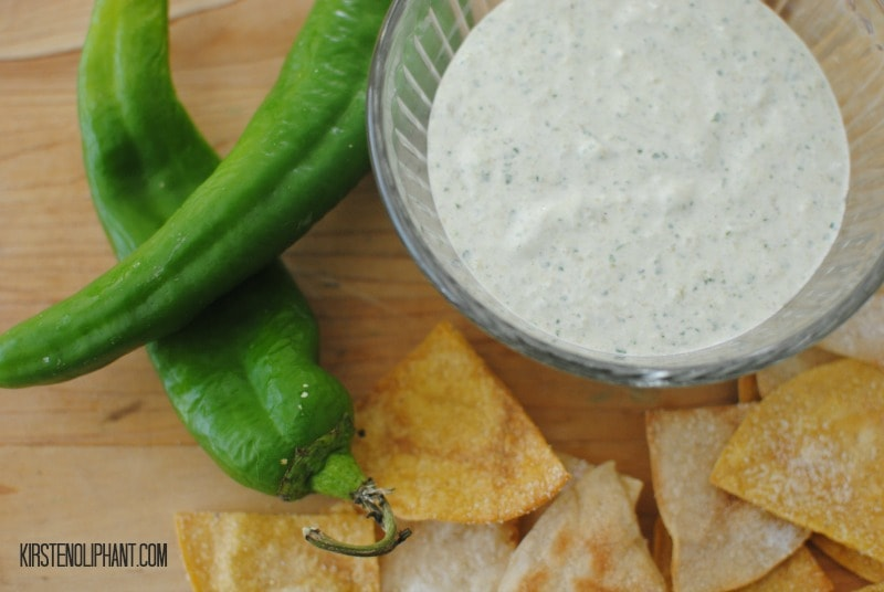 A Hatch Chile dip made with Greek Yogurt.