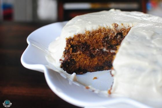This is the best pumpkin recipe ever. With chocolate chips and either browned butter or cream cheese frosting.