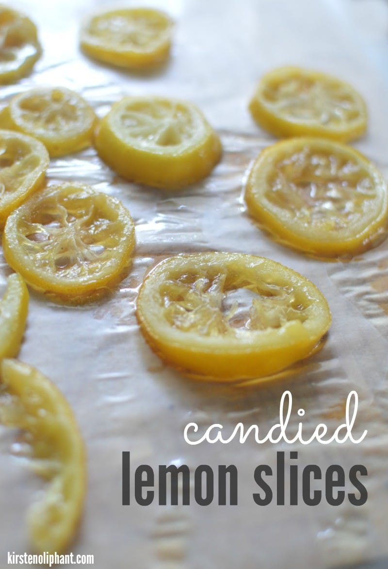 Candied lemon slices are sticky-sweet and tart-- perfect for garnishing an icy drink or enjoying as a special treat!