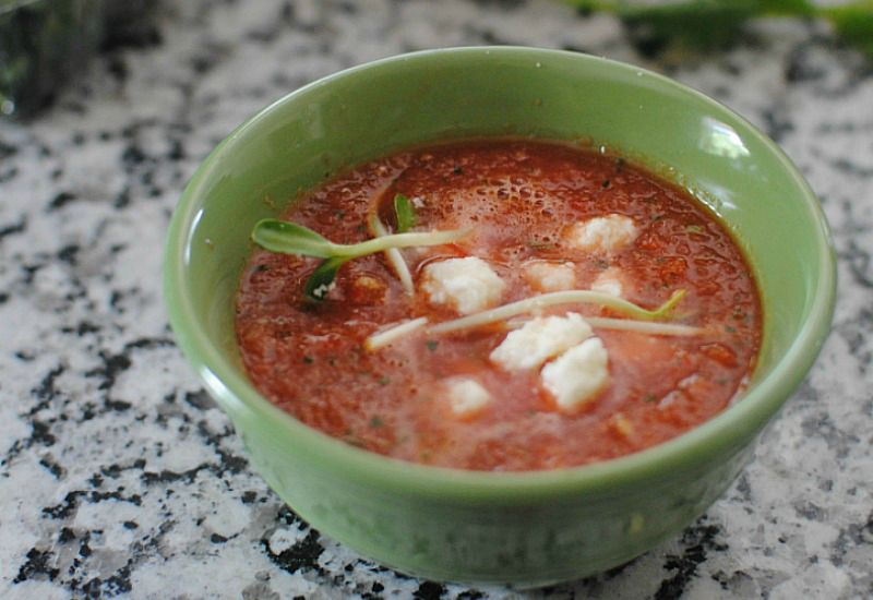 Refreshing and cool watermelon gazpacho