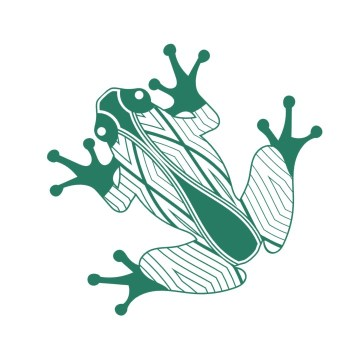 A stylised green frog: artwork by Dixon Patten of Bayila Creative