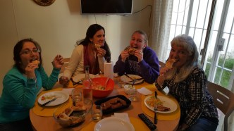 Enjoying my last lunch with my host family