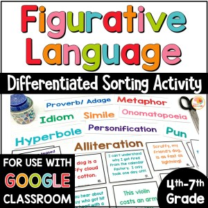 Figurative Language Sorting Activity COVER