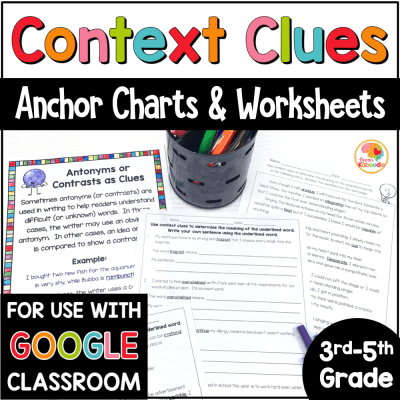 Context Clues Printable Worksheets 3-5 COVER