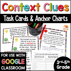 Context Clues Task Cards and Anchor Charts 3 to 5 COVER
