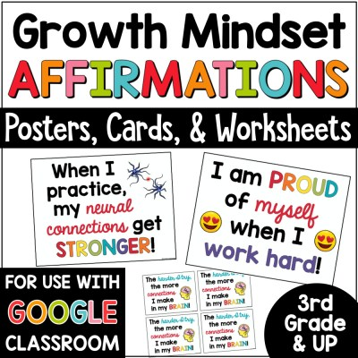 Growth Mindset Affirmations Posters Bulletin Board COVER