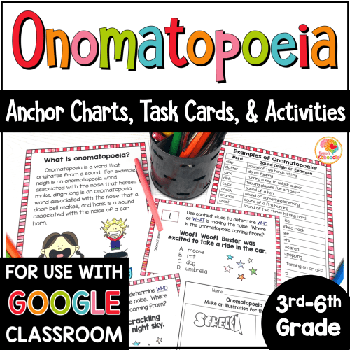 small resolution of Onomatopoeia Task Cards and Activities