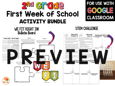 First Week of School Activities for 2nd Grade with Digital Option Back to School PREVIEW