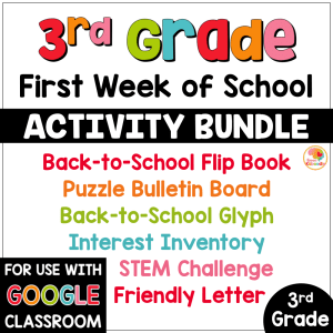 First Week of School Activities for 3rd Grade with Digital Option Back to School COVER