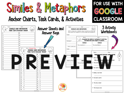 Similes and Metaphors Activities with Digital Option PREVIEW