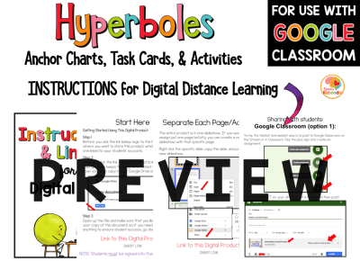 Hyperboles Activities and Task Cards with Digital Option PREVIEW