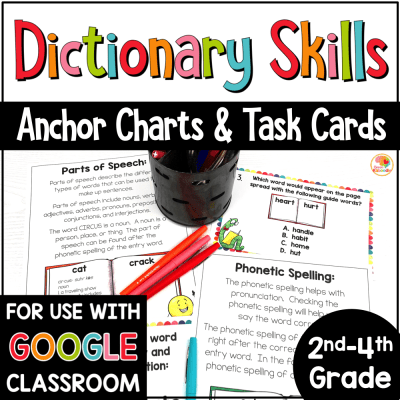 Dictionary Skills Activities and Task Cards with Digital Option in Google COVER