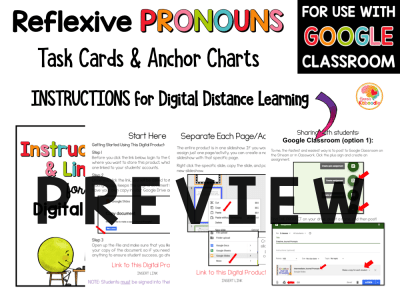 Reflexive Pronouns Task Cards and Activities with Digital Option PREVIEW