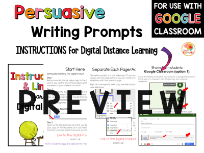 Persuasive Writing Prompts Graphic Organizers with Digital Option in Google Slides