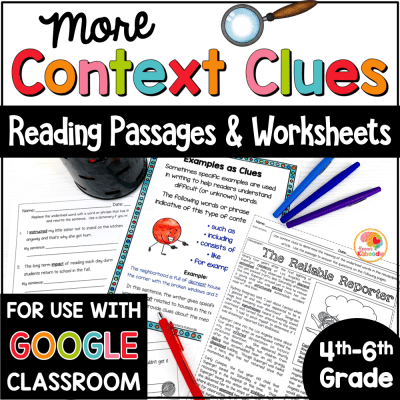 Context Clues Passages for 4th to 6th Grade with Digital Option COVER