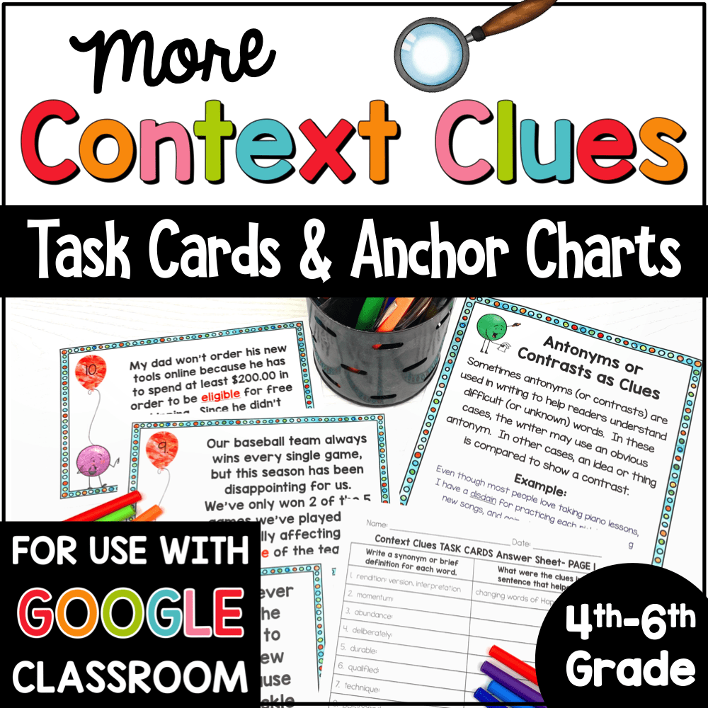 hight resolution of Context Clues Task Cards and Anchor Charts for 4th-6th Grade